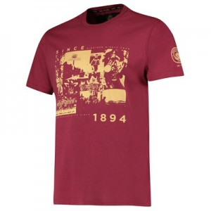 Manchester City Manchester City 125 Years History T Shirt - Maroon - Unisex