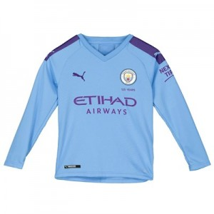 Manchester City Home Shirt 2019-20 - Long Sleeve - Kids