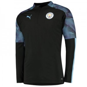 Manchester City 1/4 Zip Training Top - Black