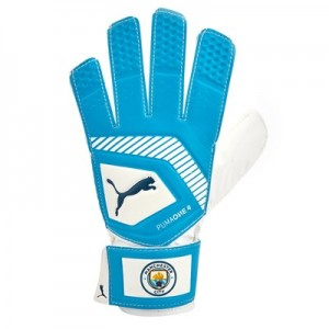 Manchester City Puma One Grip 4 Goalkeeper Gloves - Light Blue
