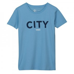 Manchester City Wordmark T Shirt - Sky - Kids