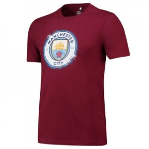 Manchester City Splatter T Shirt - Maroon - Mens