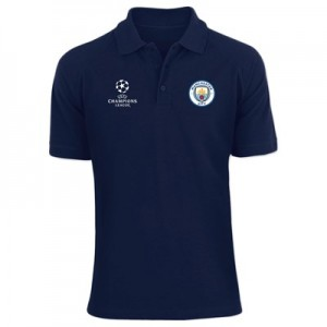 Manchester City UEFA Champions League Embroidered Polo Shirt - Navy- Mens