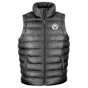 Manchester City UEFA Champions League Embroidered Padded Gilet - Black - Mens