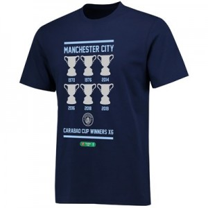 Manchester City 2019 6 Times Carabao Cup Winners T Shirt - Navy - Unisex