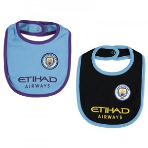 Manchester City Kit 2Pk Bibs - Sky Blue/Black - Baby