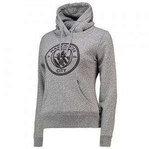 Manchester City Mono Crest Hoodie - Grey Marl - Womens