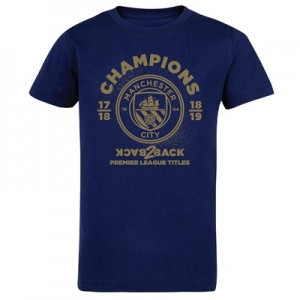 Manchester City Back 2 Back Champions Metallic T Shirt - Navy - Kids