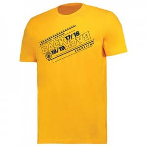 Manchester City Back 2 Back Champions Line Stack T Shirt - Yellow - Mens