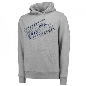 Manchester City Back 2 Back Champions Line Stack Hoodie - Grey Marl - Mens