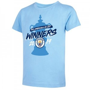 Manchester City FA Cup Winners T Shirt - Sky - Kids