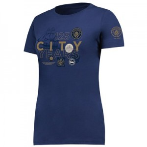 Manchester City 125 Years Badge T Shirt - Navy - Womens