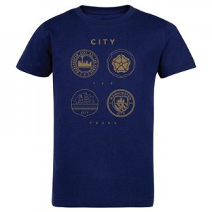 Manchester City 125 Years Quad T Shirt - Navy - Kids
