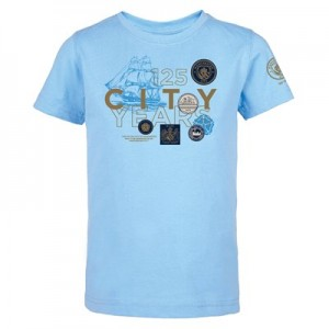 Manchester City 125 Years Badge T Shirt - Sky - Kids