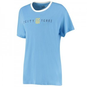 Manchester City 125 Year Anniversary Fan T-Shirt - Sky Blue - Womens
