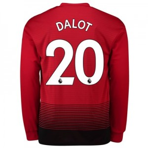 Manchester United Home Shirt 2018-19 - Long Sleeve with Dalot 20 printing
