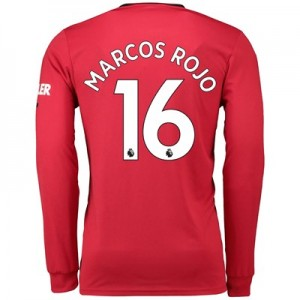 Manchester United Home Shirt 2019 - 20 - Long Sleeve with Marcos Rojo 16 printing