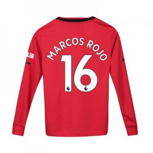 Manchester United Home Shirt 2019 - 20 - Kids - Long Sleeve with Marcos Rojo 16 printing