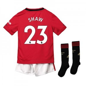 Manchester United Home Mini Kit 2019 - 20 with Shaw 23 printing