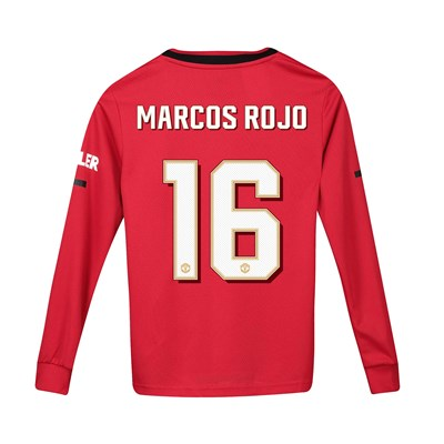 Manchester United Cup Home Shirt 2019 - 20 - Kids - Long Sleeve with Marcos Rojo 16 printing