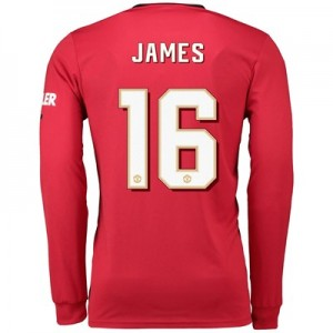 Manchester United Cup Home Shirt 2019 - 20 - Long Sleeve with James 16 printing