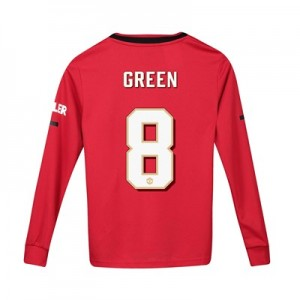 Manchester United Cup Home Shirt 2019 - 20 - Kids - Long Sleeve with Green 8 printing