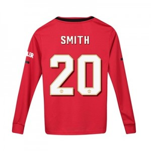 Manchester United Cup Home Shirt 2019 - 20 - Kids - Long Sleeve with Smith 20 printing