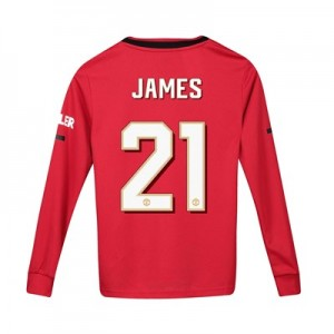 Manchester United Home Cup Shirt 2019 - 20 - Kids - Long Sleeve with James 21 printing