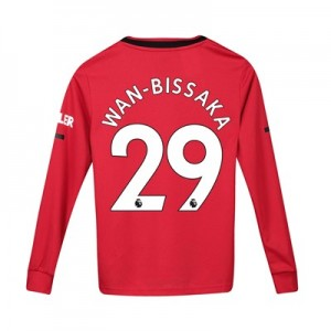 Manchester United Home Shirt 2019 - 20 - Kids - Long Sleeve with Wan-Bissaka 29 printing