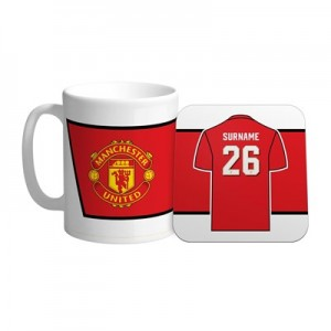 Manchester United Personalised Shirt Number Coaster and Mug Set