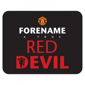 Manchester United Personalised Red Devils Mouse Mat - Black