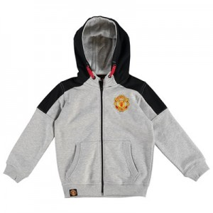 Manchester United Core Full Zip Hoodie - Grey Marl - Kids