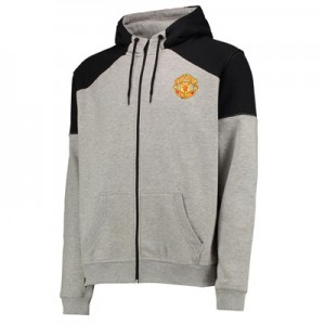 Manchester United Core Full Zip Hoodie - Grey Marl - Mens
