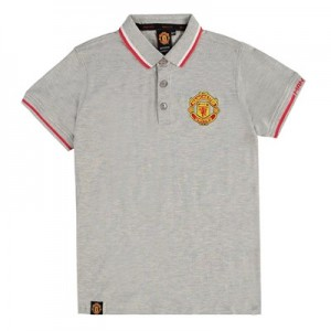 Manchester United Core Polo Shirt - Grey Marl - Kids