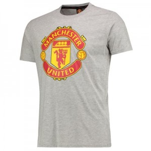 Manchester United Core Crest T-Shirt - Grey Marl - Mens