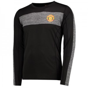 Manchester United Core Long Sleeve Poly T-Shirt - Black - Mens
