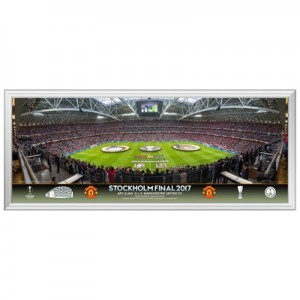 Manchester United Europa League 2017 Final Line Up Panoramic Framed Print - 30 Inch