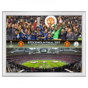 Manchester United Europa League 2017 Final Celebration-Line Up Framed Print - 16 x 12 Inch