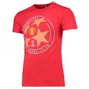 Manchester United UEFA Champions League Star Ball T-Shirt - Red - Mens