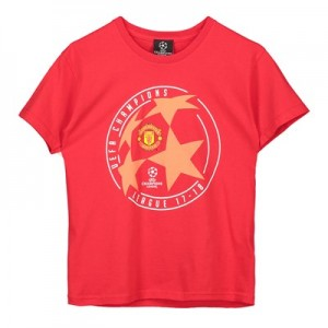 Manchester United UEFA Champions League Star Ball T-Shirt- Red - Junior