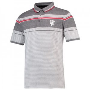 Manchester United Vintage Jersey Polo T-Shirt - Grey Marl - Mens