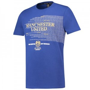 Manchester United 50th Anniversary Staggered Text T-Shirt - Royal Blue - Mens