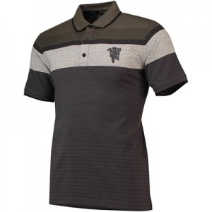 Manchester United Striped Polo Shirt - Anthracite - Mens