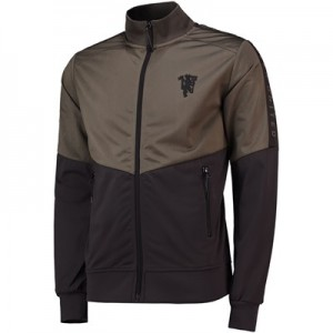 Manchester United Zip Through Track Top - Khaki/Anthracite - Mens