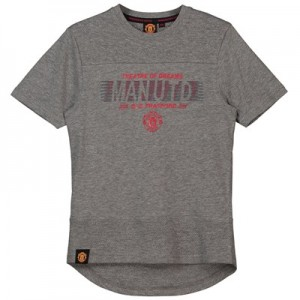 Manchester United Core Raised Rubber Print T-Shirt - Grey Marl - Junior