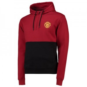 Manchester United Core Contrast Panel 1/4 Zip Hoodie - Black/Burnt Red - Mens