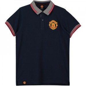 Manchester United Core Contrast Rib Polo Shirt - Navy - Junior