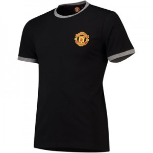 Manchester United Core Piped Edge T-Shirt - Black - Mens