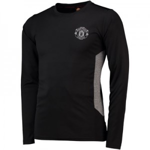 Manchester United Core Long Sleeve Poly T-Shirt - Black/Grey - Mens
