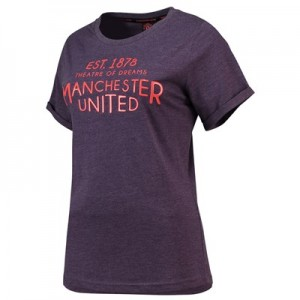 Manchester United Raised Print Round Neck T-Shirt - Plum - Womens